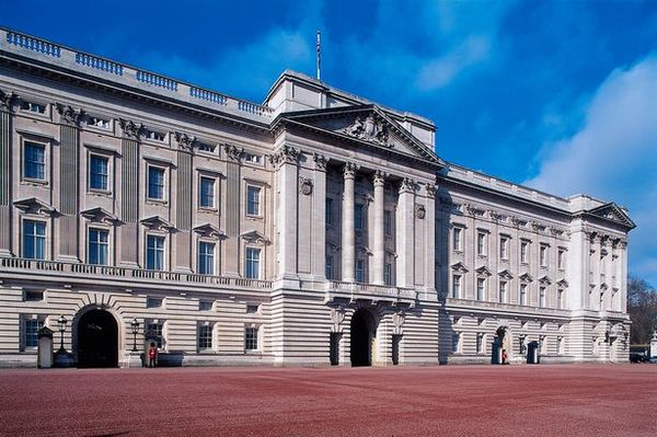 Facade of Buckingham Palace London residence of the reigning monarch of the United Kingdom London