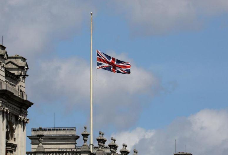 half mast british flag