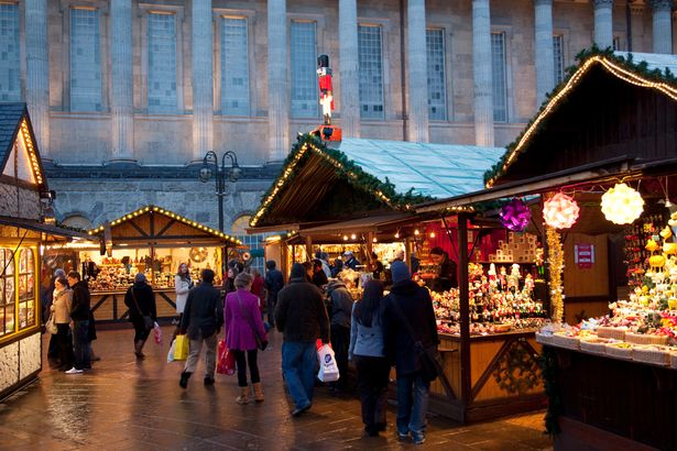 Christmas Market stalls and Town Hall City Centre Birmingham