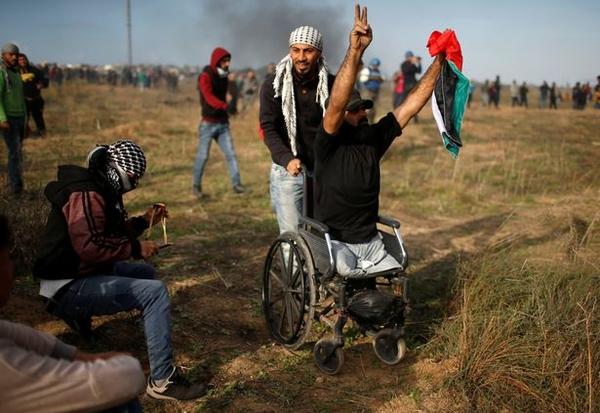 Wheelchair bound Palestinian demonstrator Ibraheem Abu Thuraya who according to medics was killed l 1