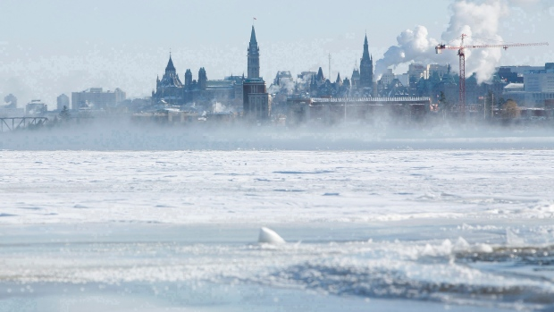 ottawa river frozen ice winter