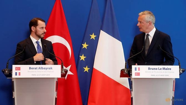 french finance minister bruno le maire and turkish finance minister berat albayrak attend a joint news conference after a meeting at the bercy finance ministry in paris 5