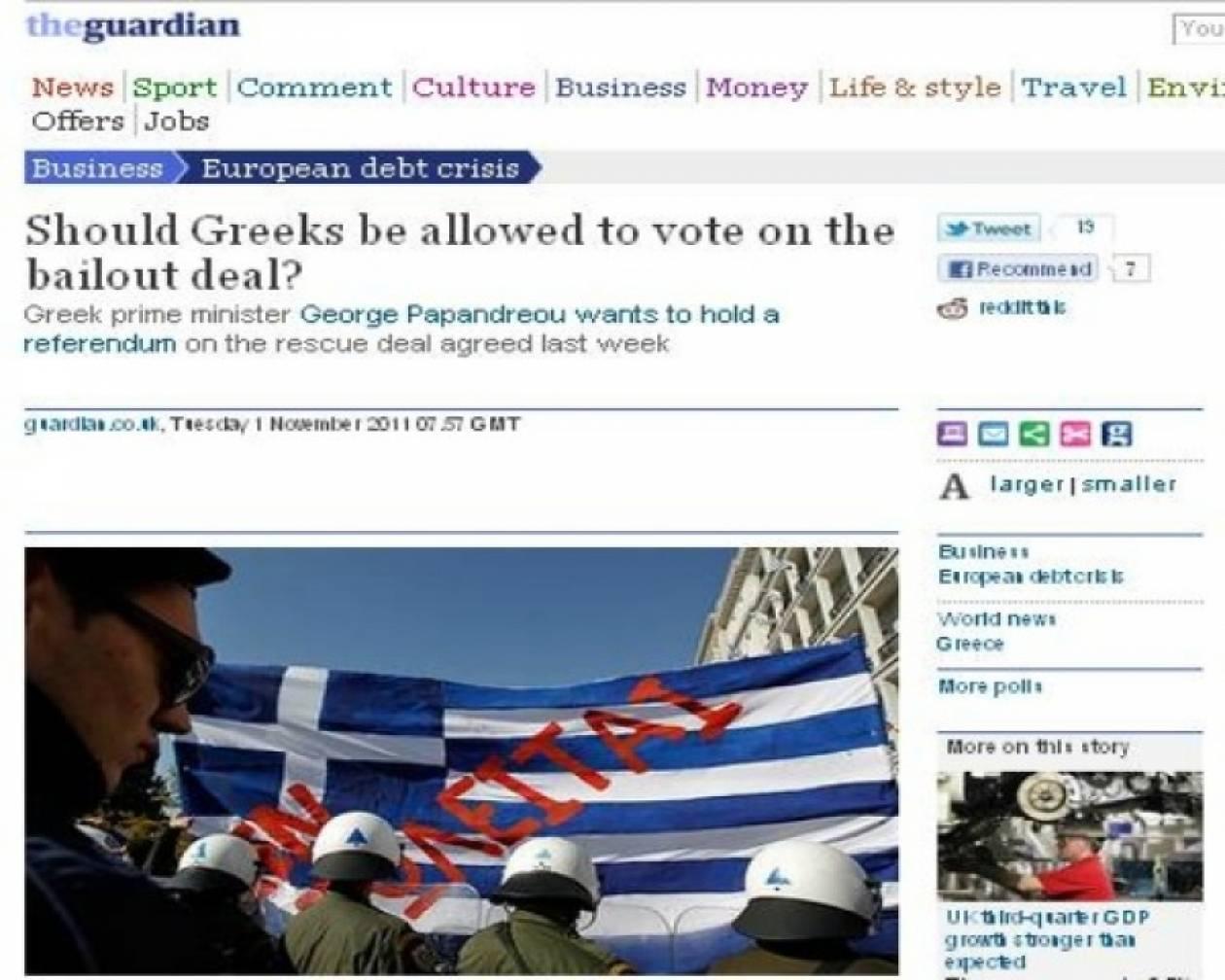 Ερώτημα -σοκ του Guardian: Να επιτραπεί στους Έλληνες να κάνουν δημοψήφισμα;