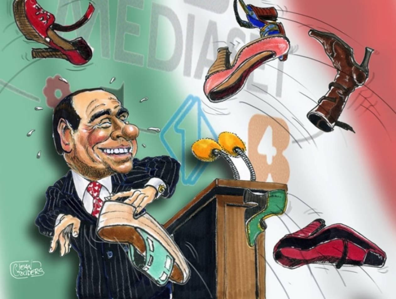 Πανό καρτούν του Σίλβιο Μπερλουσκόνι !