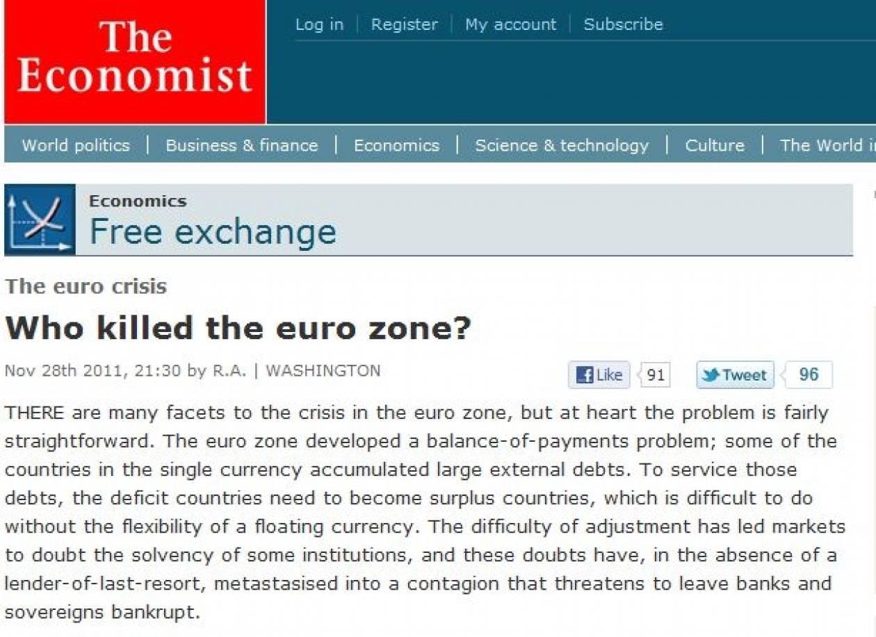 Economist: «Ποιος σκότωσε την ευρωζώνη;»