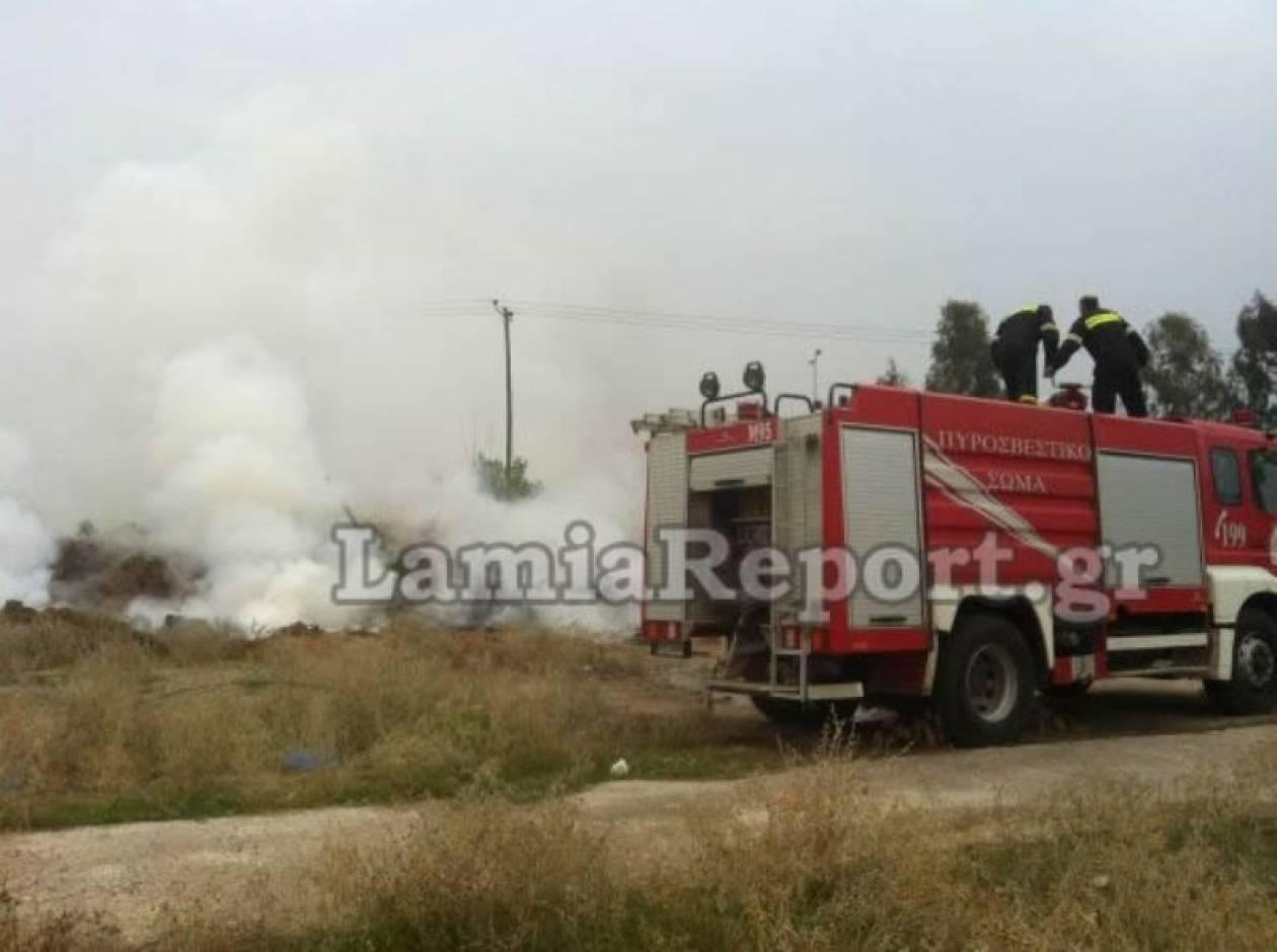 Λαμία: Πυρκαγιά κοντά σε σιδηροδρομικό σταθμό