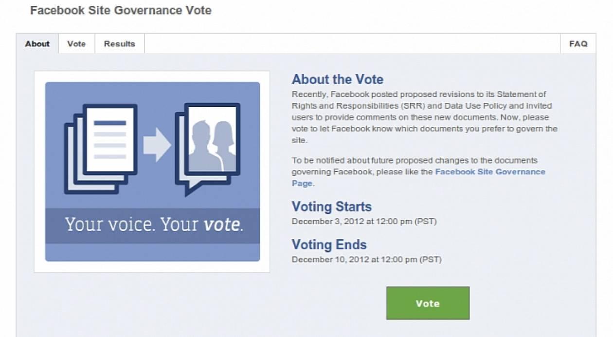 Το Facebook καλεί σε δημοψήφισμα για τις νέες αλλαγές