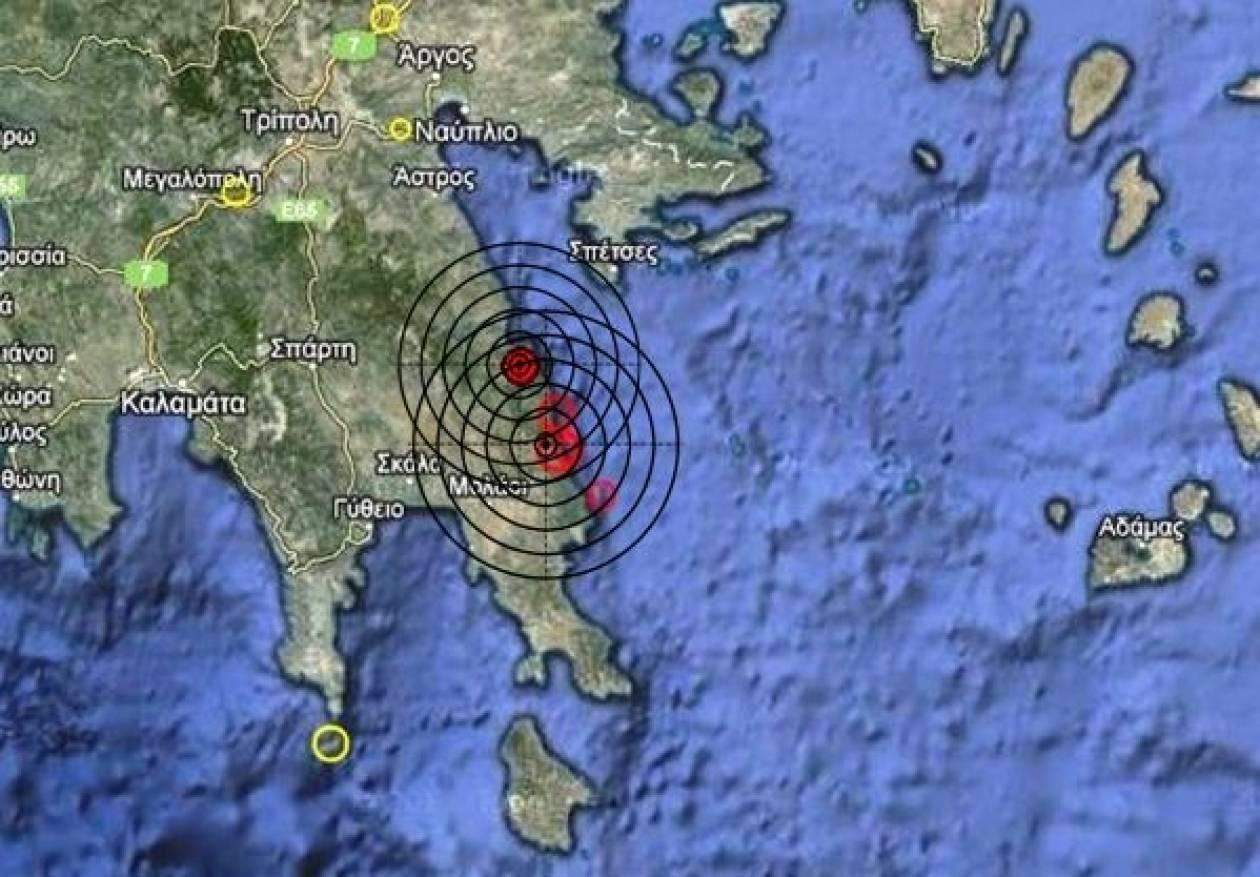 Διπλή σεισμική δόνηση στην ανατολική Πελοπόννησο
