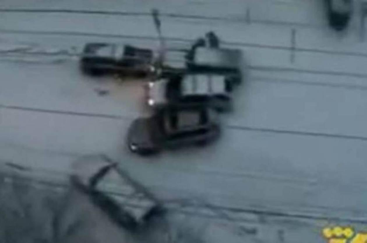 Αυτοκίνητα... συγκρουόμενα κάνουν πατινάζ στον πάγο (video)