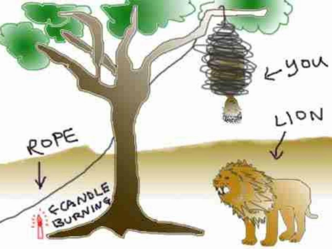 Γρίφος... Το λιοντάρι, το σκοινί και το κερί