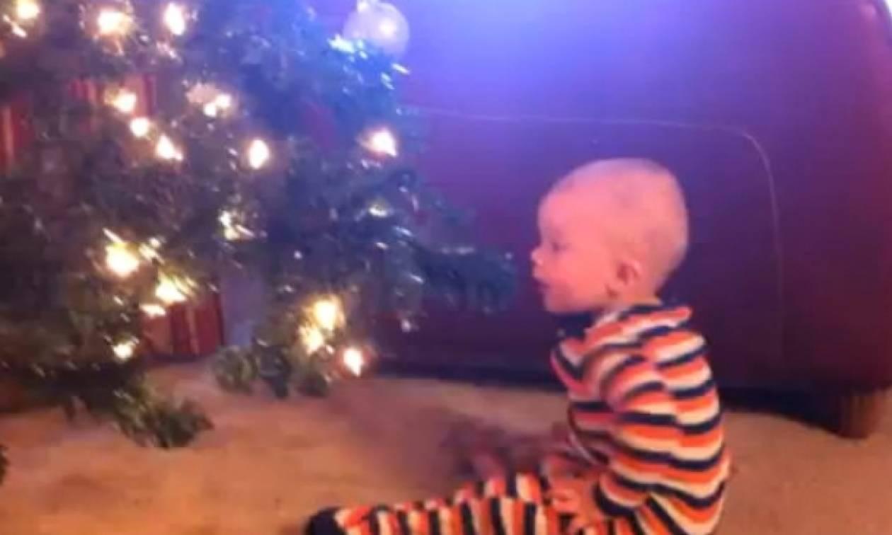 Δείτε με πόση χαρά ο μπόμπιρας πετά τις Χριστουγεννιάτικες μπάλες