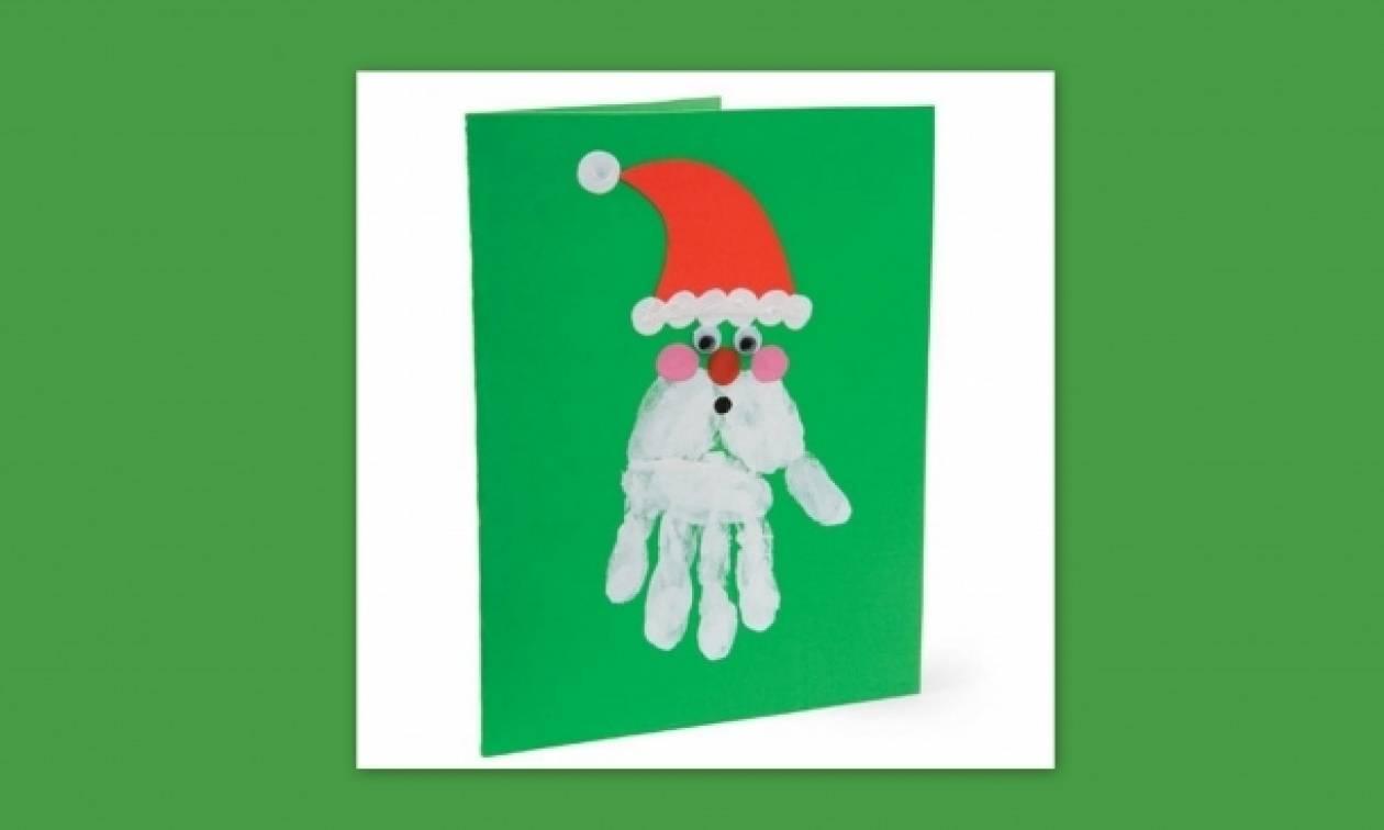 Κάρτα με τον Άγιο Βασίλη φτιαγμένο από το αποτύπωμα του χεριού σας