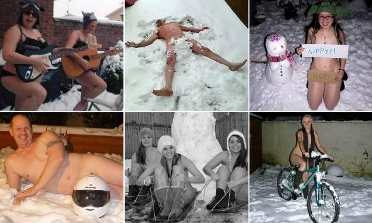 H νέα μόδα στο Facebook: Φωτογραφίζονται... γυμνοί στο χιόνι!