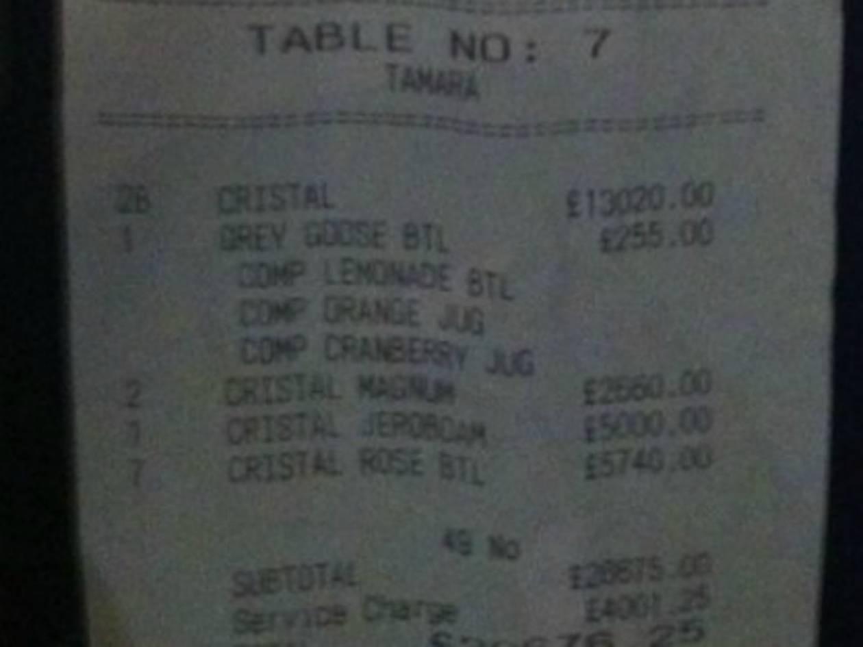 Διάσημη ήπιε σε ένα βράδυ 28 μπουκάλια σαμπάνιας αξίας 30,676 λιρών