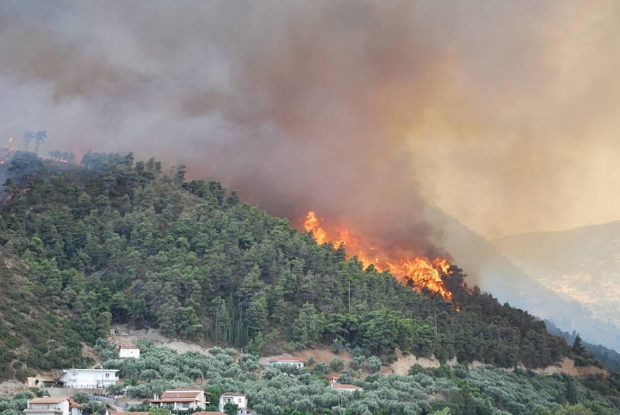 Σε ύφεση η πυρκαγιά στα Μέγαρα