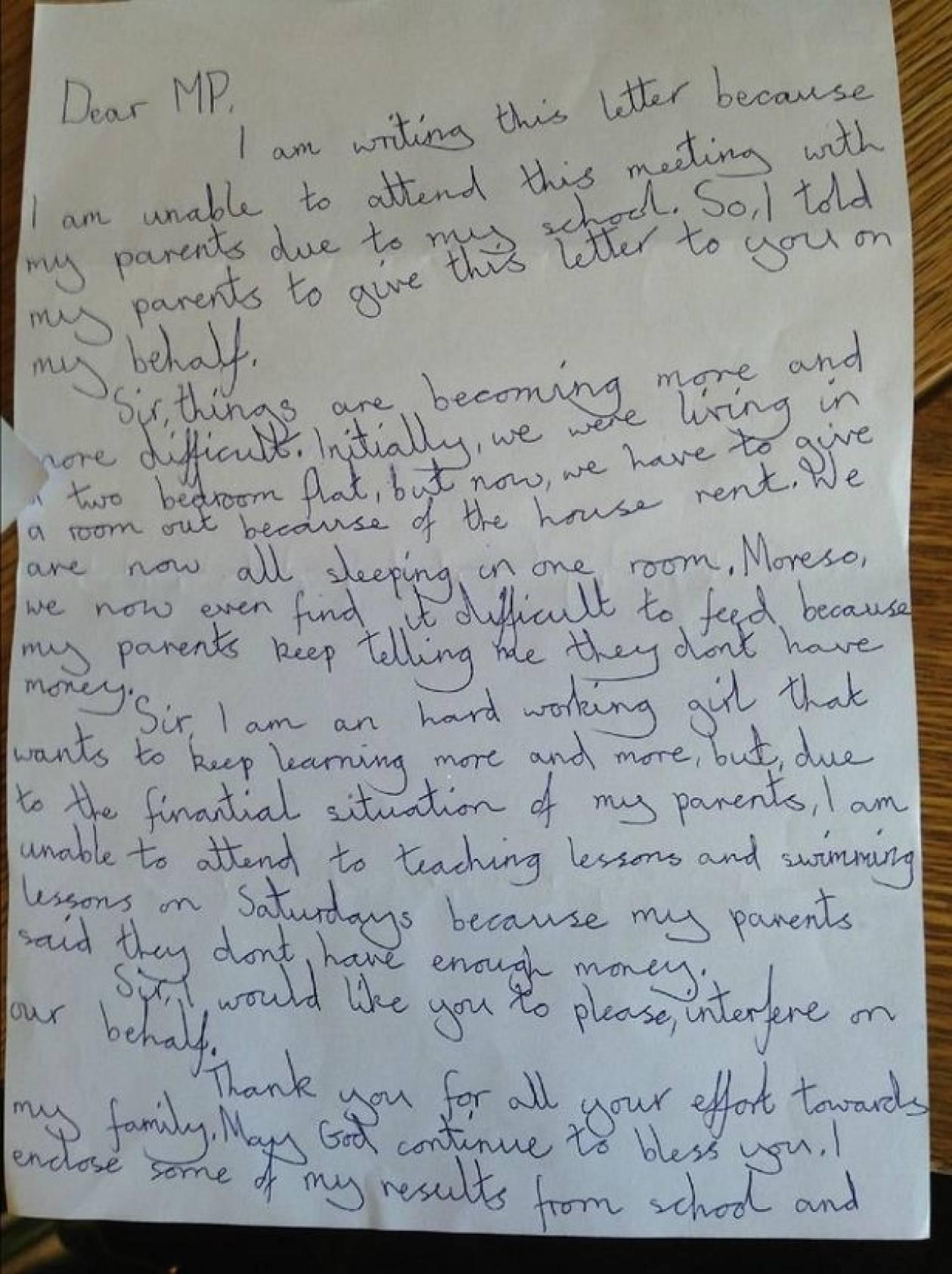 Συγκινητικό γράμμα οκτάχρονης σε βουλευτή