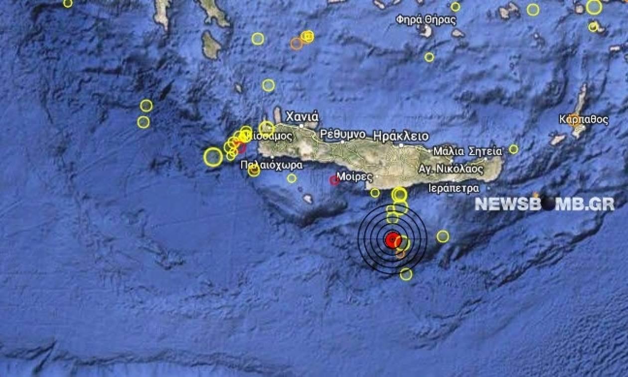 Σεισμός 3,5 Ρίχτερ νότια της Κρήτης
