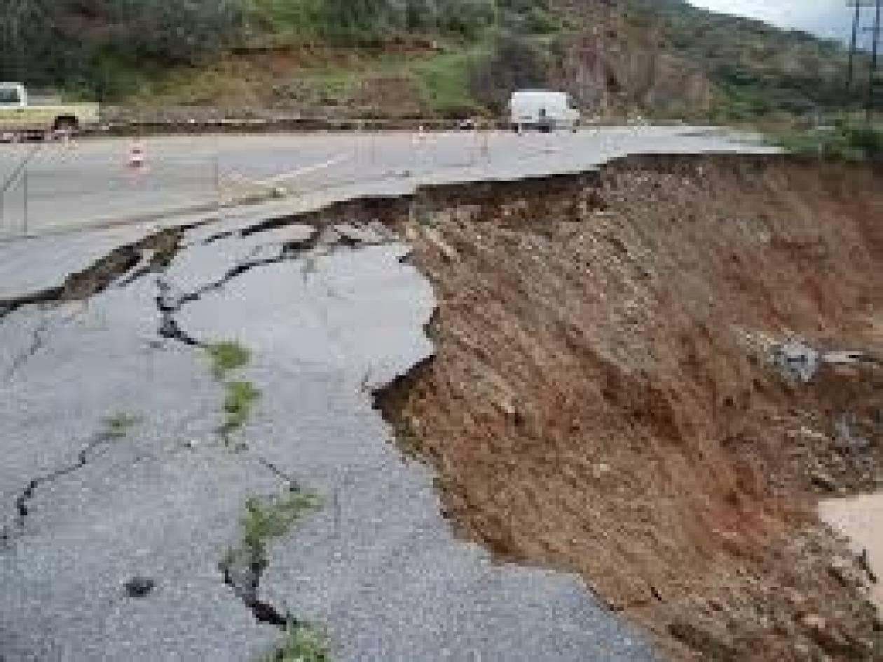 Ζημιές σε δρόμους της Μεσσηνίας από τις βροχοπτώσεις