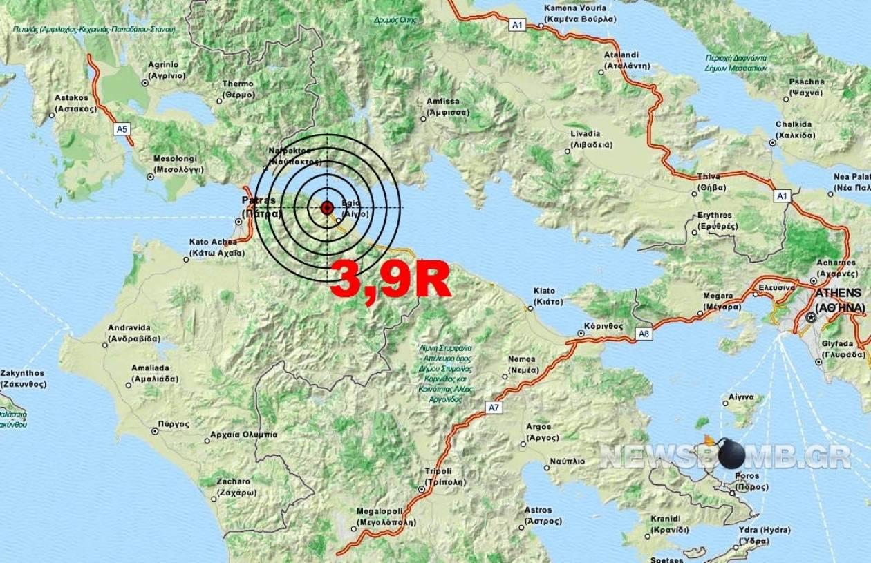 Σεισμός 3,9 Ρίχτερ ανατολικά της Πάτρας