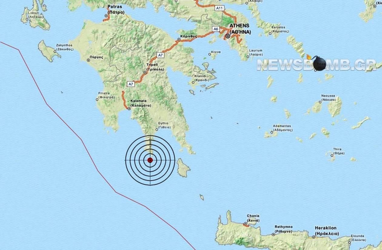 Σεισμός 3,7 Ρίχτερ νότια της Λακωνίας