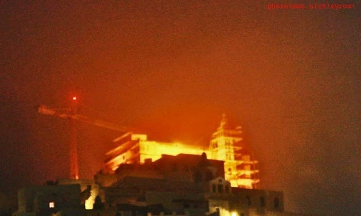 Η πυκνή ομίχλη έκανε την εμφάνισή της και στη Σύρο!
