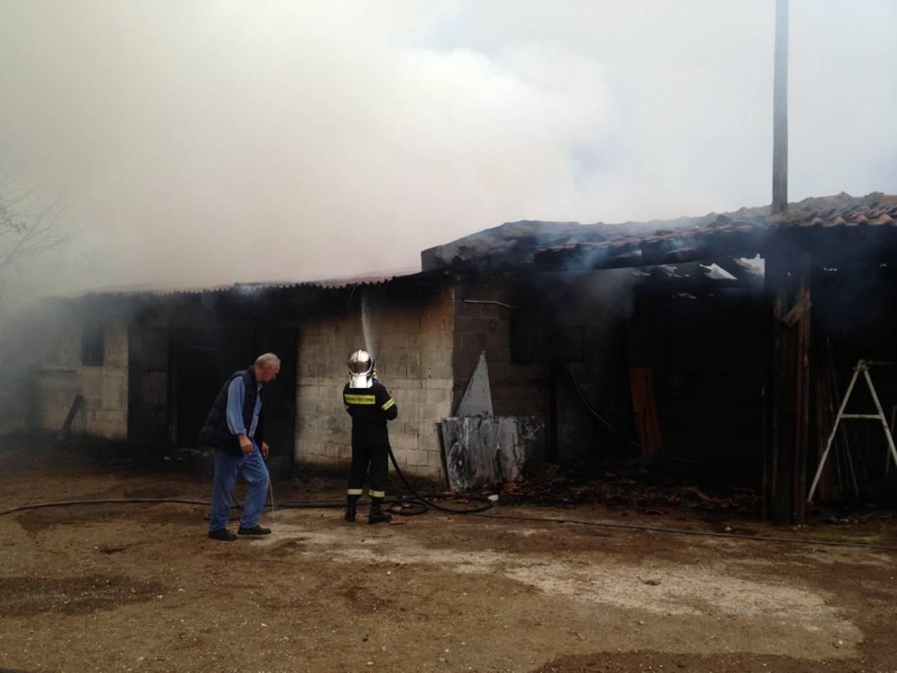 Στις φλόγες αποθήκη που ανήκει σε αγρότη στη Σκουτερά Αγρινίου