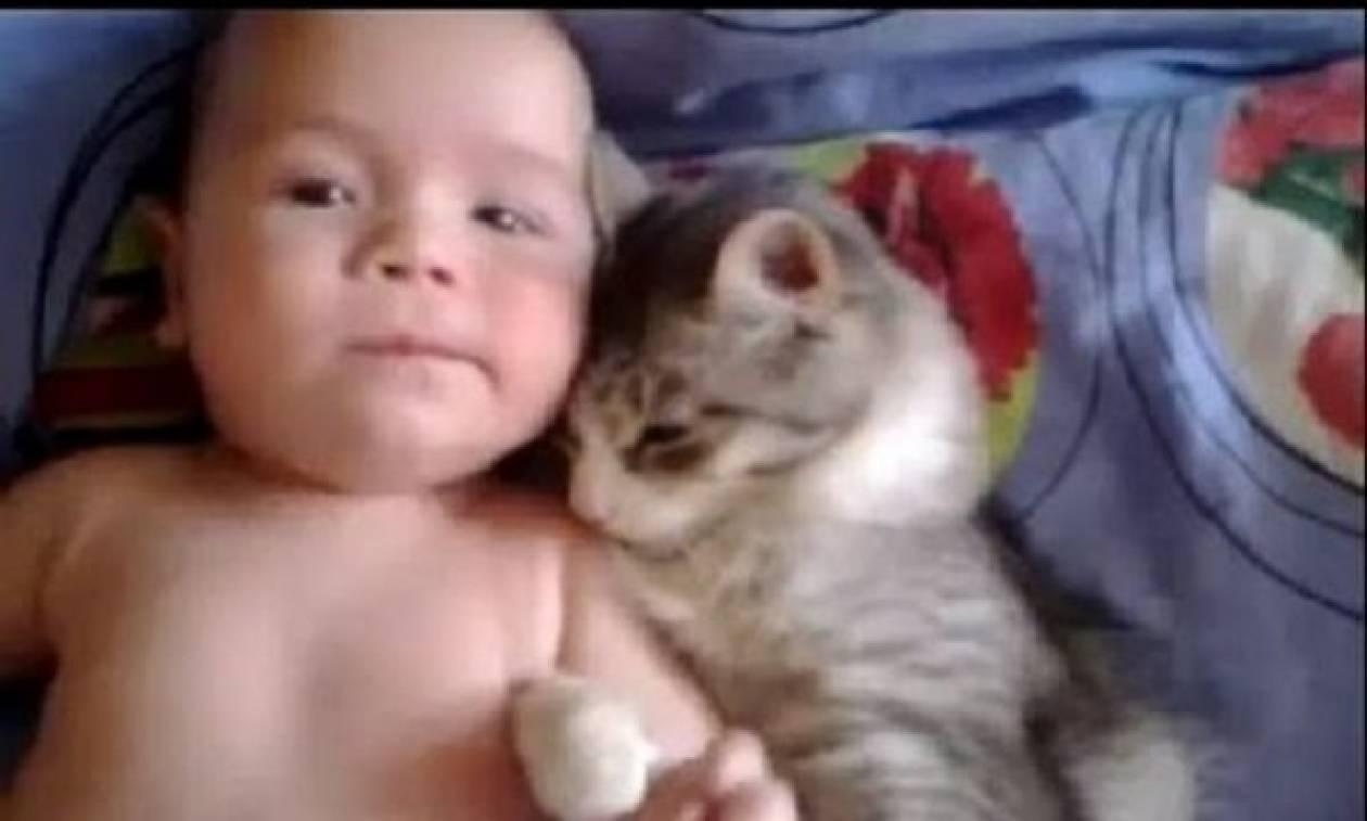 Πόσο τρυφερό! Δείτε τι κάνει μία γάτα σε ένα μωρό που είναι ξαπλωμένο