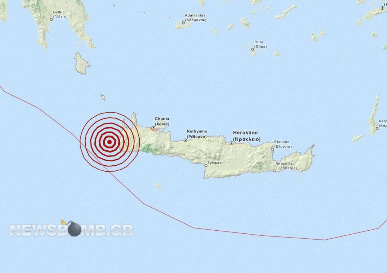 Σεισμός 3,7 Ρίχτερ δυτικά της Κρήτης