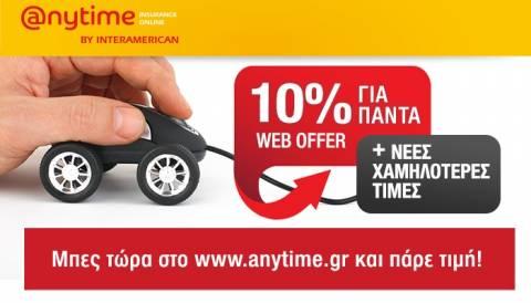 Anytime: Ασφάλιση αυτοκινήτου πιο οικονομικά από ποτέ με νέες χαμηλότερες τιμές!