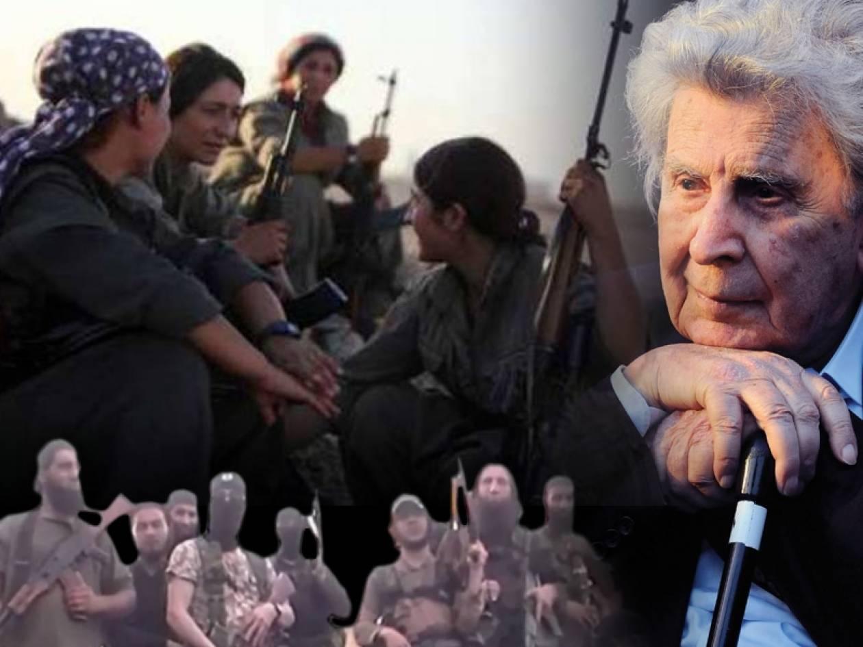 Κομπάνι: O Μίκης Θεοδωράκης εμψυχώνει τους Κούρδους μαχητές!  (vid+pics)