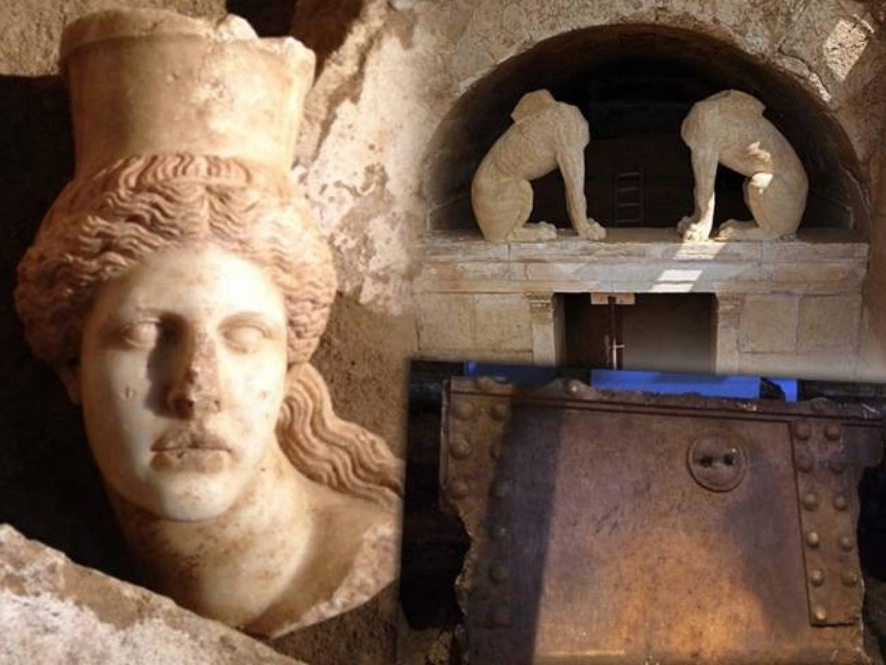 One of the sphinxes' heads found at Kasta tomb in Ancient Amphipolis
