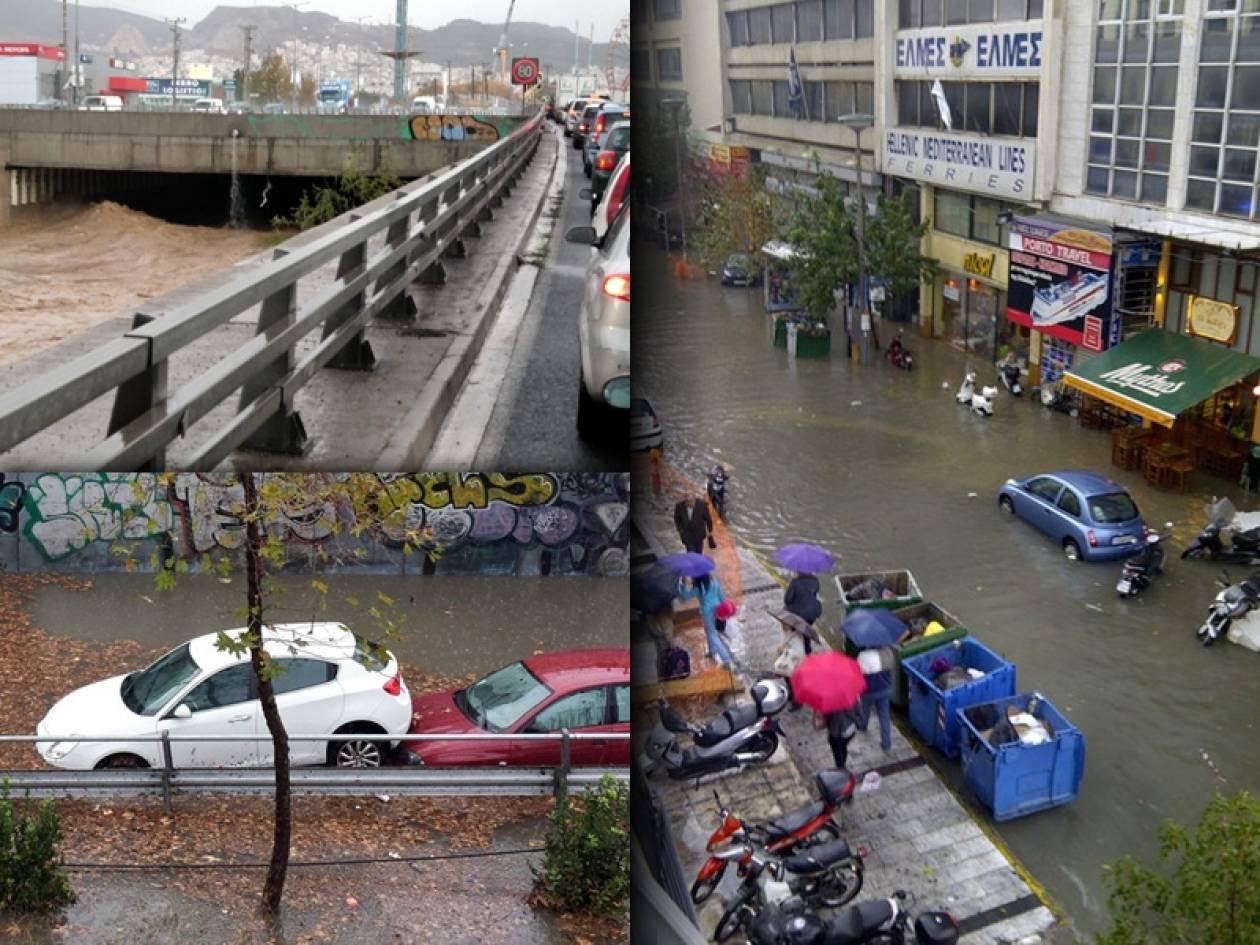 Χάος στους δρόμους από τη δυνατή βροχόπτωση