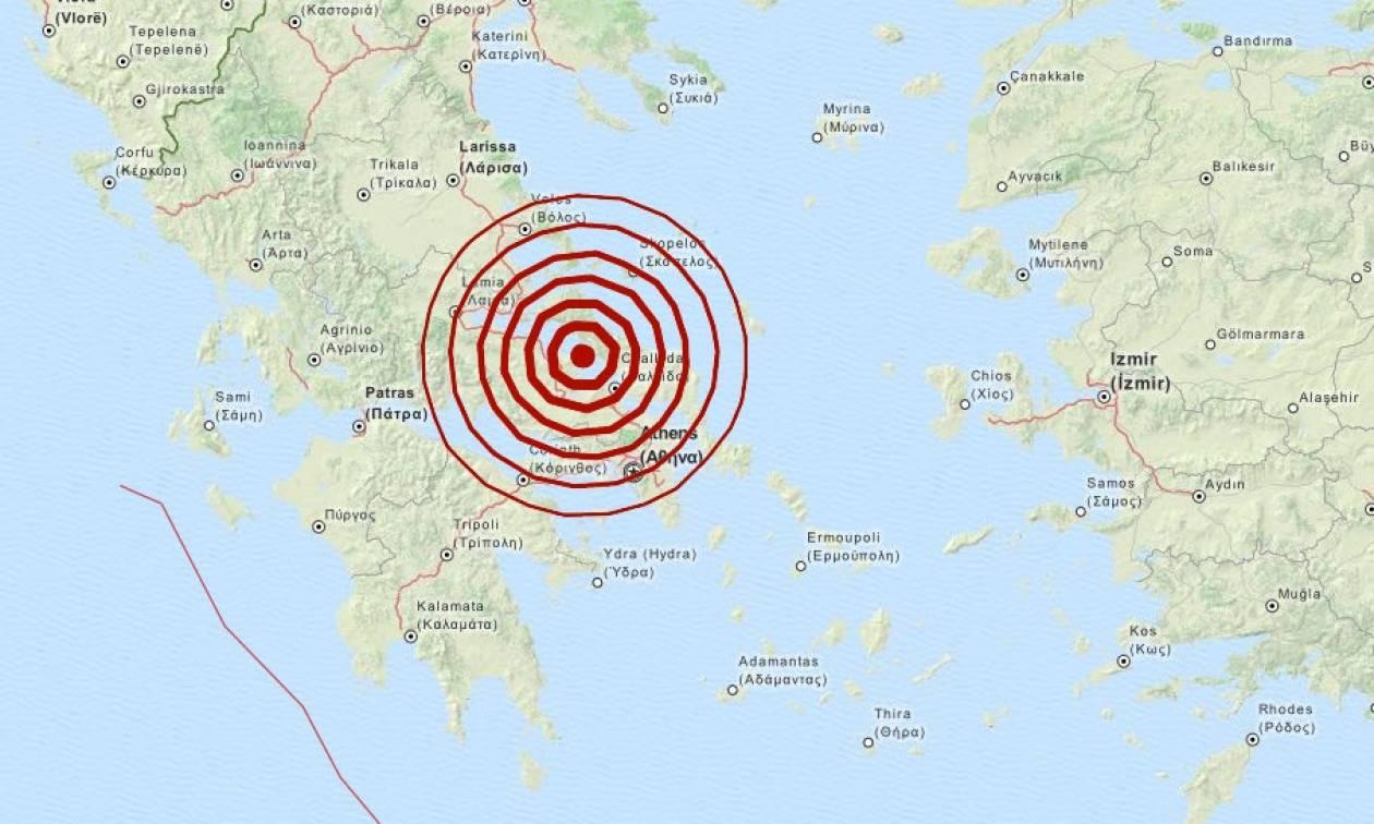 Σεισμός τώρα - 5,2 Ρίχτερ βόρεια της Χαλκίδας