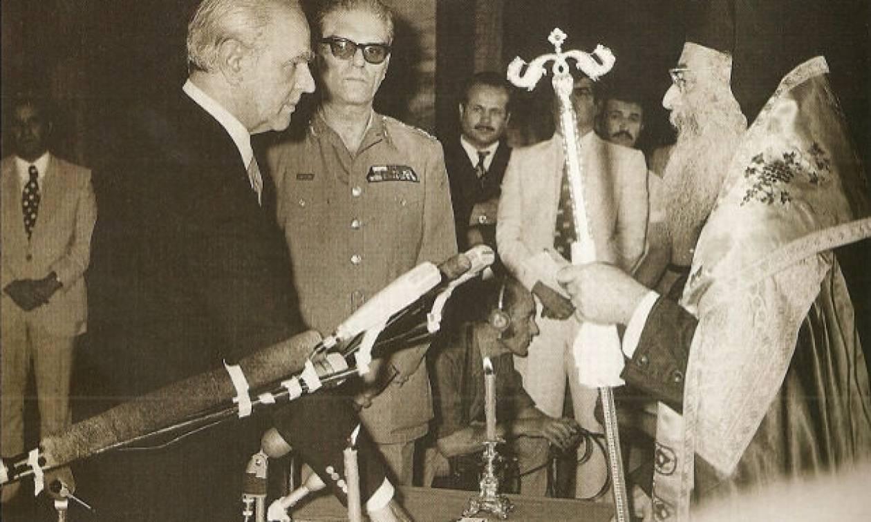 Αποτέλεσμα εικόνας για ο Κωνσταντίνος Καραμανλής ορκίστηκε πρωθυπουργός