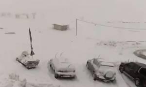 Κακοκαιρία: Στα λευκά το Μέτσοβο (video)