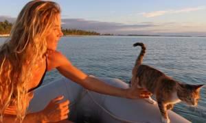 Η καπετάνισσα που αρμενίζει τα πέλαγα με τη γάτα της! (pics)
