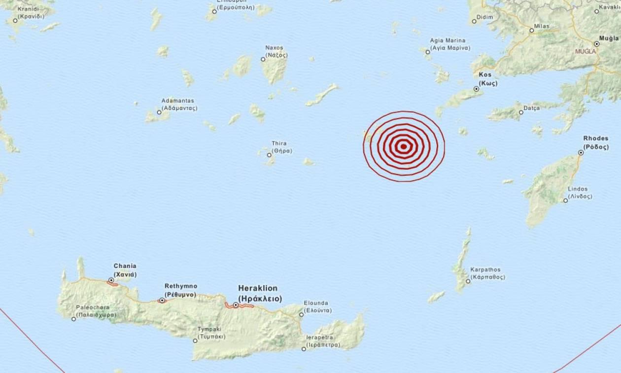 Σεισμός 3,6 Ρίχτερ νοτιοανατολικά της Αστυπάλαιας