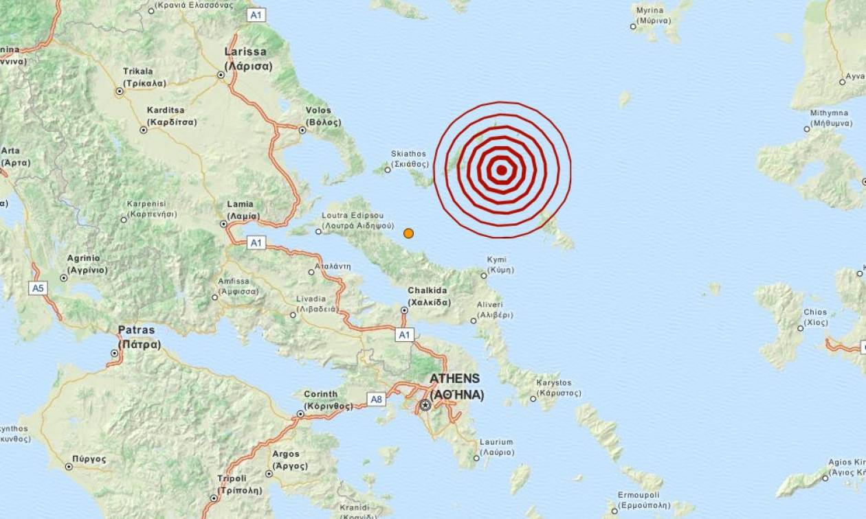 Σεισμός τώρα 4,2 Ρίχτερ στις Βόρειες Σποράδες (pic)
