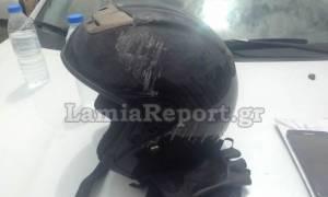 Παραλίγο τραγωδία στη Λαμία: Το κράνος του έσωσε τη ζωή (pics)