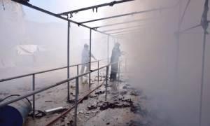 Χίος: Οι μετανάστες έβαλαν φωτιά στον κατακλυσμό της Σούδας (videos+photos)