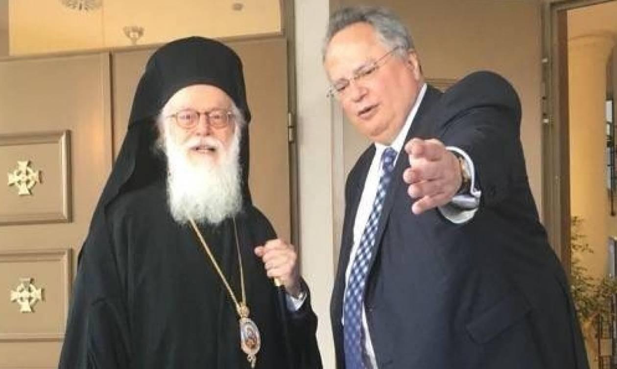 Συνάντηση Κοτζιά με Αρχιεπίσκοπο Αλβανίας Αναστάσιο
