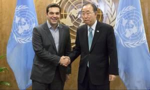 O Μπαν Κι-μουν ελπίζει σε λύση του Κυπριακού μέχρι το τέλος του έτους - Συνάντηση με Τσίπρα