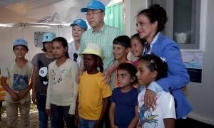 Προσφυγικό: Στη Μυτιλήνη ο Μπαν Κι Μουν (pics)