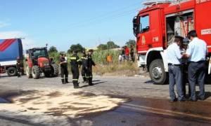 Φρίκη στην Εθνική Οδό Κορίνθου – Πατρών: Λύθηκε το χειρόφρενο και τους... έλιωσε φορτηγό