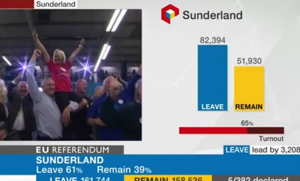 Δημοψήφισμα Βρετανία: Το πρώτο «Brexit» ήρθε από το Σάντερλαντ