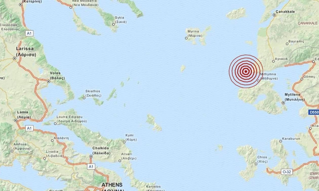 Σεισμός 3,7 Ρίχτερ βόρεια της Μυτιλήνης (pics)