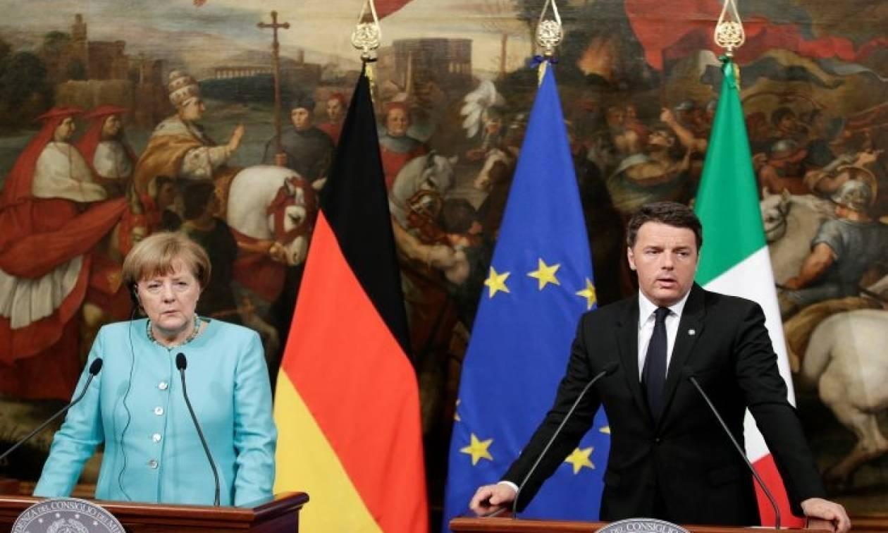Μετωπική σύγκρουση Μέρκελ - Ρέντσι για τις τράπεζες. Έφαγε... άκυρο ο Ιταλός πρωθυπουργός