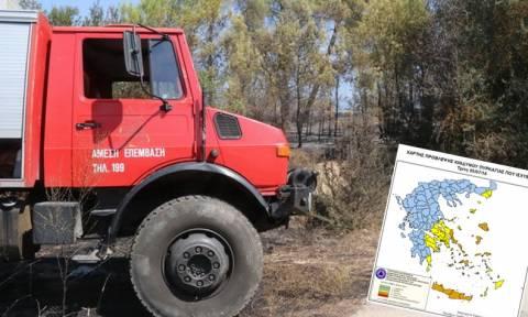 Πορτοκαλί συναγερμός! Ο χάρτης πρόβλεψης κινδύνου πυρκαγιάς για την Τρίτη 5/7 (pics)