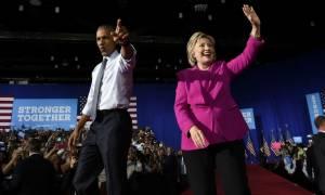 Εκλογές ΗΠΑ: Στο πλευρό της Χίλαρι Κλίντον ο Μπαράκ Ομπάμα