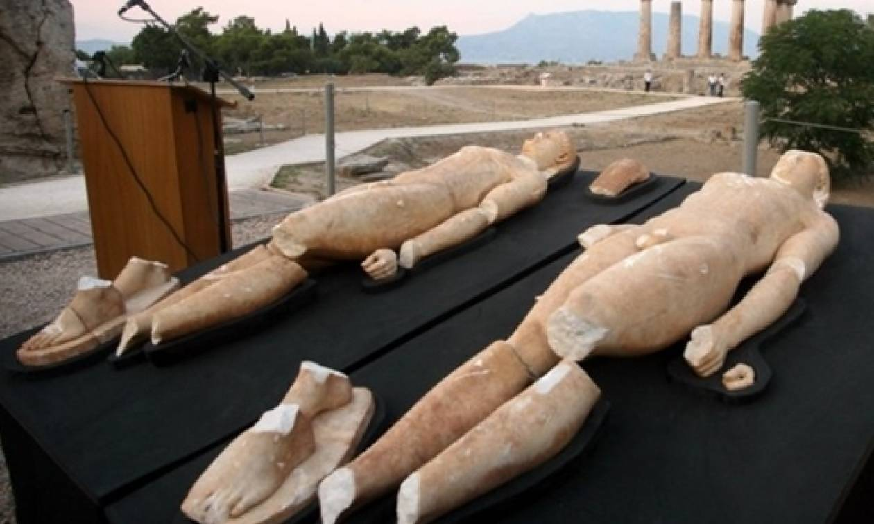 Αρχαία Κόρινθος: Εκτίθενται για πρώτη φορά οι δίδυμοι Κούροι της Τενέας